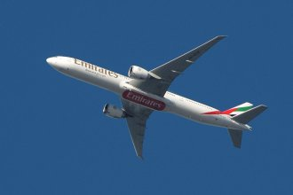Emirates Taken Today (unusual downwind manouver cutting the corner to avoid weather near the airport)