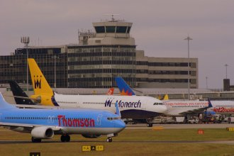 Thomson Taxiing at Manchester Airport.