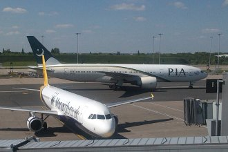 PIA taxiing in