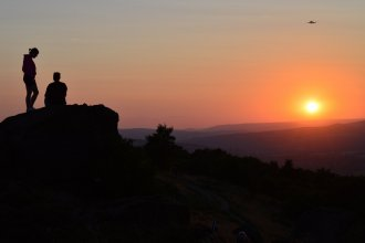 Sunset, Otley Chevin - with Jet2 Boeing 737-800 on approach