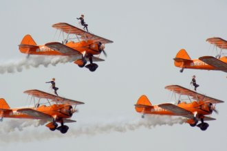 4x Boeing Stearman, Breitling Team wingwalkers at RIAT Fairford 12.07.14