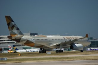 Etihad Airbus A330-243  at Manchester Airport