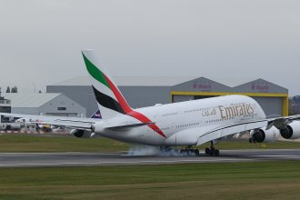 Emirates A380 landing at BHX