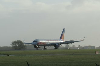 Jet2 757 arriving from Manchester for a rugby charter to Rome