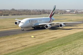 Emirates A380 at BHX